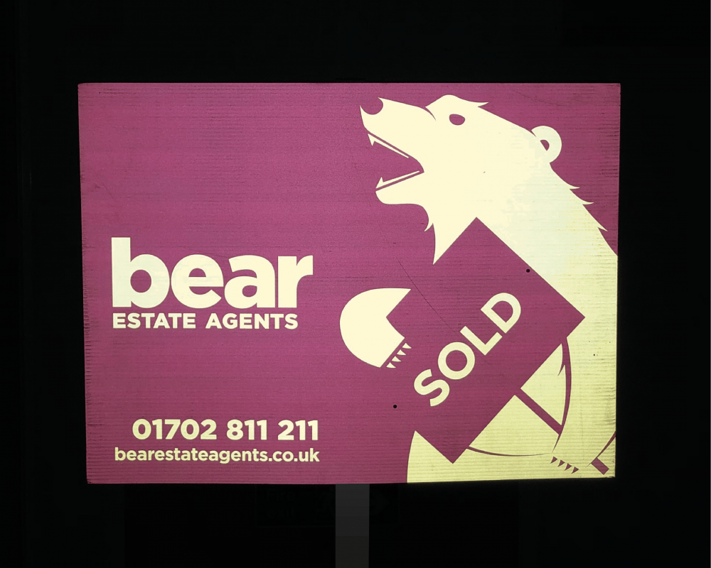 High quality reflective estate agent board.