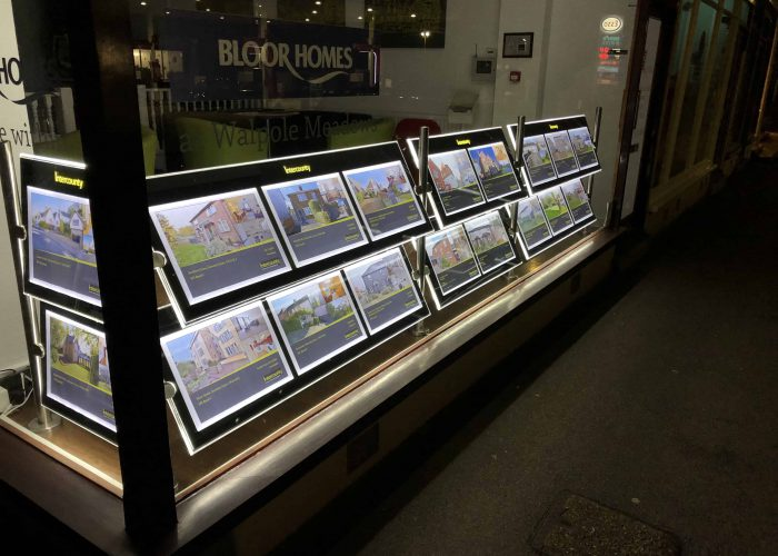 A LED illuminated Estate agent letting display