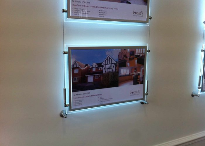A led wall display backlit to show properties.