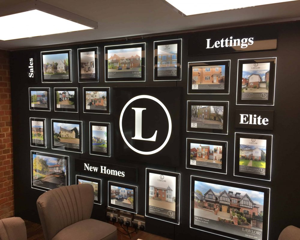 LED Wall displays for an estate agent made bespoke with logo.