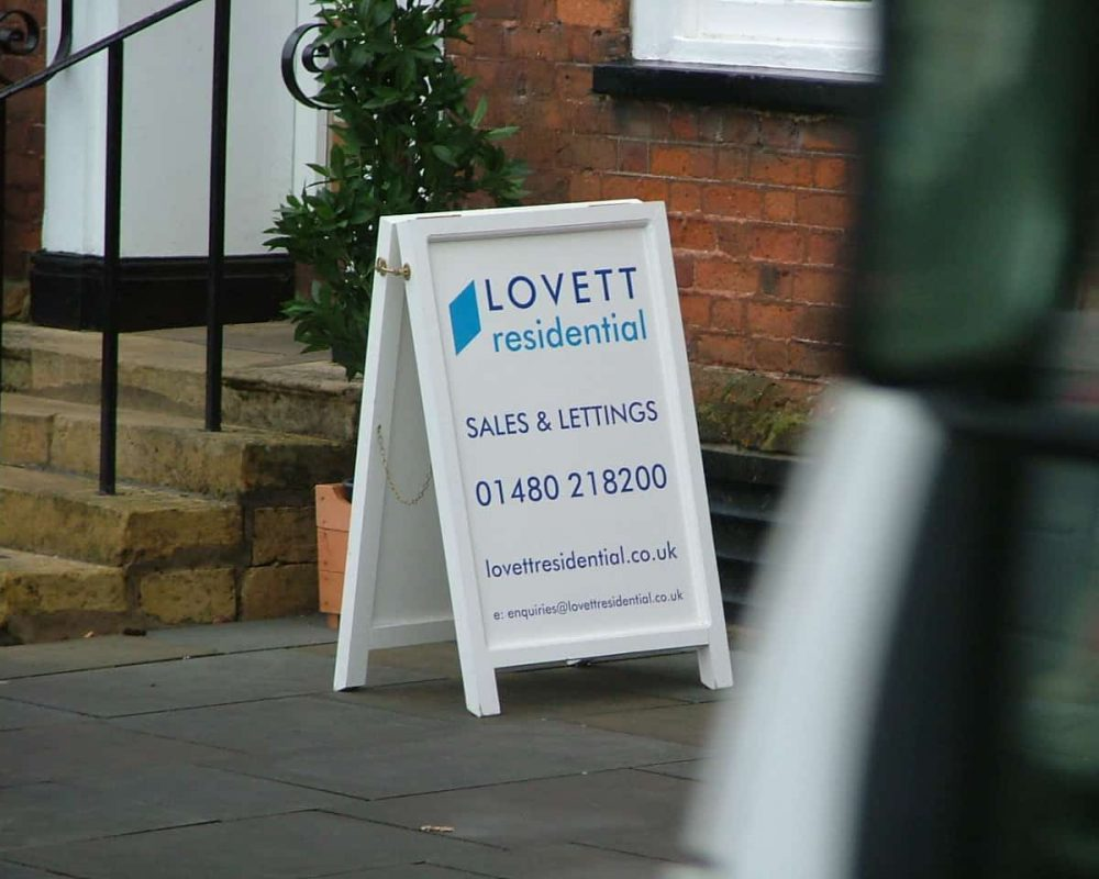 Lovett Estate agent pavement sign wooden A Board