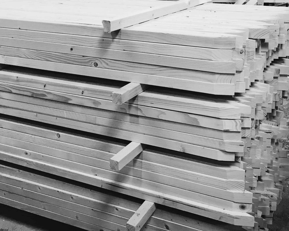 Our spiked wooden Posts ready stacked in a pile.